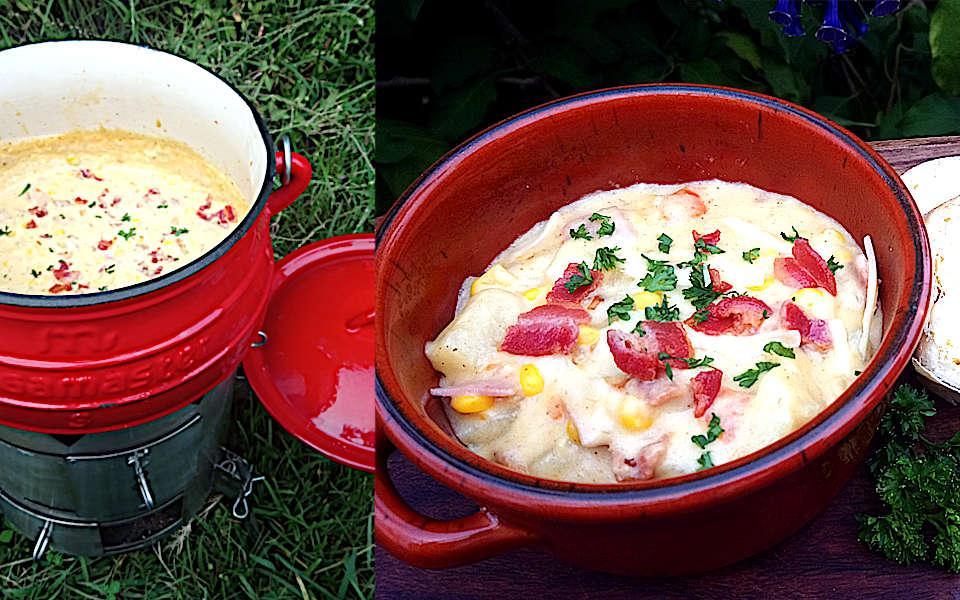 Ham and corn cheesy chowder